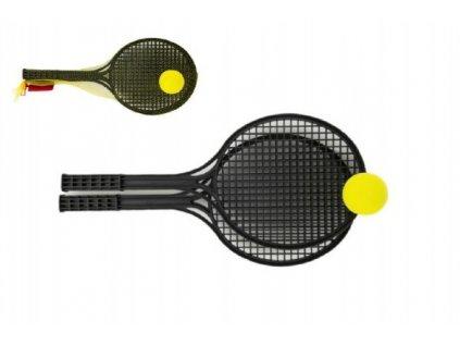 Soft tenis plast černý+míček