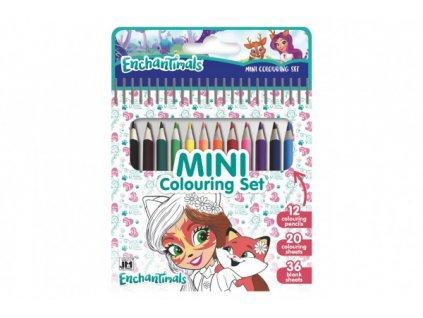 Mini set blok s omalovánkami s 12 pastelkami Enchantimals 11x15cm