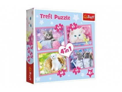 Puzzle Kočičí zábava 4v1 (35,48,54,70 dílků)
