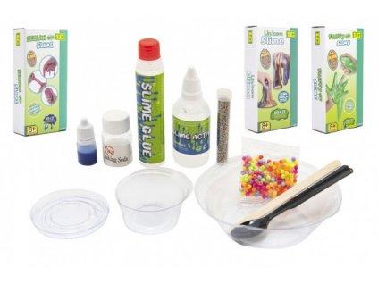 Výroba slizu/hmoty vědecká hra 3 druhy v krabičce 10x20x4,5cm