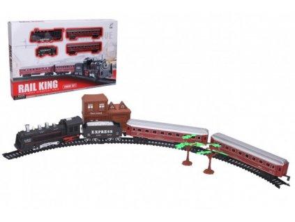 Vlak + 3 vagony s kolejemi na baterie se světlem se zvukem
