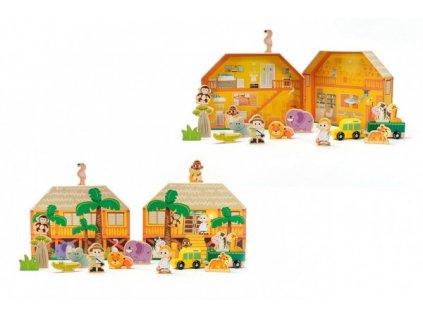 Safari/ZOO figurky dřevo + domeček