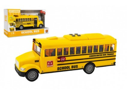 Autobus školní na setrvačník na baterie se světlem a zvukem