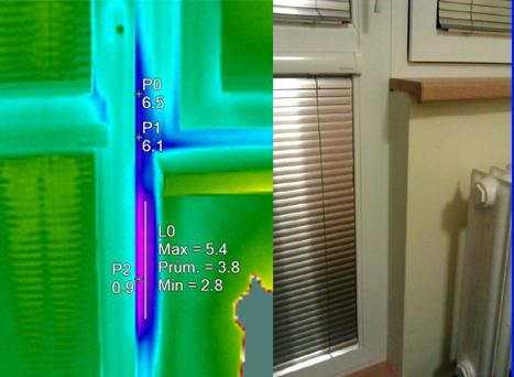 Prochladnutí ostění - netěsnost křídla a rámu, termovizní měření na Šumpersku, termovize Šumperk, termovize budov, tepelný únik budovy