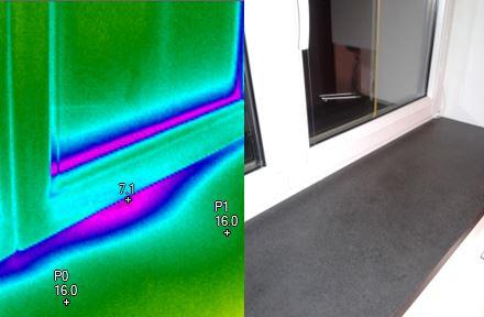 Masivní infiltrace chledného vzduchu do interiéru funkčí spárou termovizní měření na Šumpersku, termokamera Šumperk
