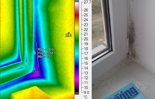 Kondenazce vlhkosti na ostění okna, termovizní měření na Šumpersku, termovize Šumperk, termovize budov, tepelný únik budovy