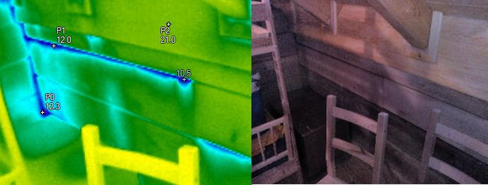 Vzduchová netěsnost vlivem vysychání dřeva, termovizní měření na Šumpersku, termovize Šumperk, termovize budov, tepelný únik budovy