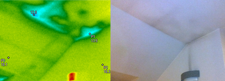 Lokalizace vlhkostní mapy v sádrokartonovém podhledu, termovizní měření na Šumpersku, termovize Šumperk, termovize budov, tepelný únik budovy