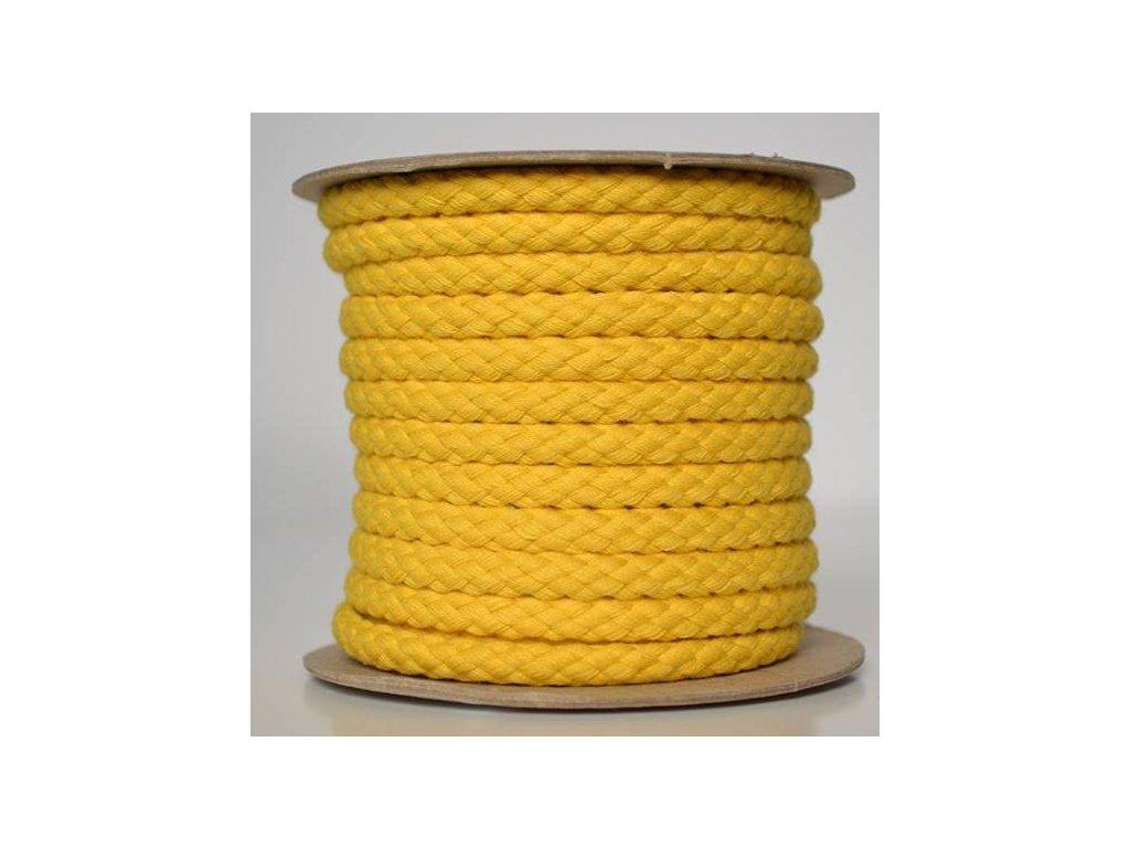 Bavlněná šňůrka 8,8 mm - žlutá