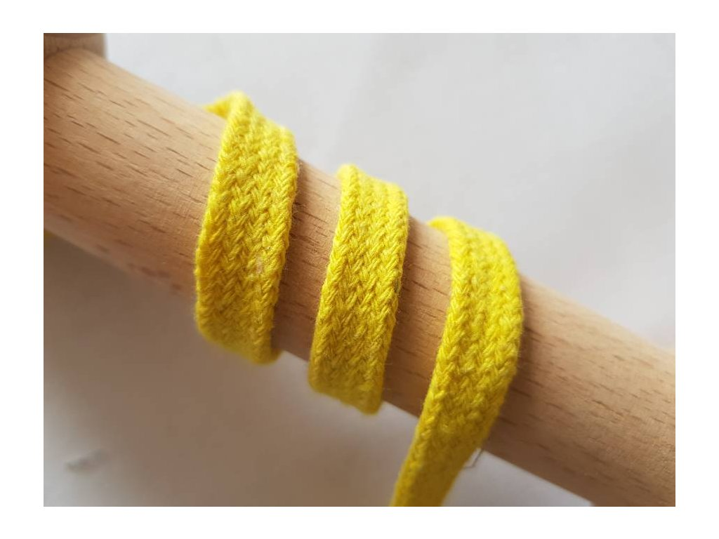 Plochá bavlněná šňůra 10mm -  žlutá