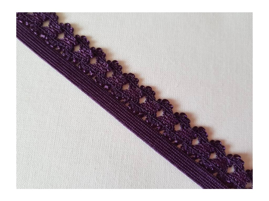 Guma plochá s krajkou 2cm - fialová