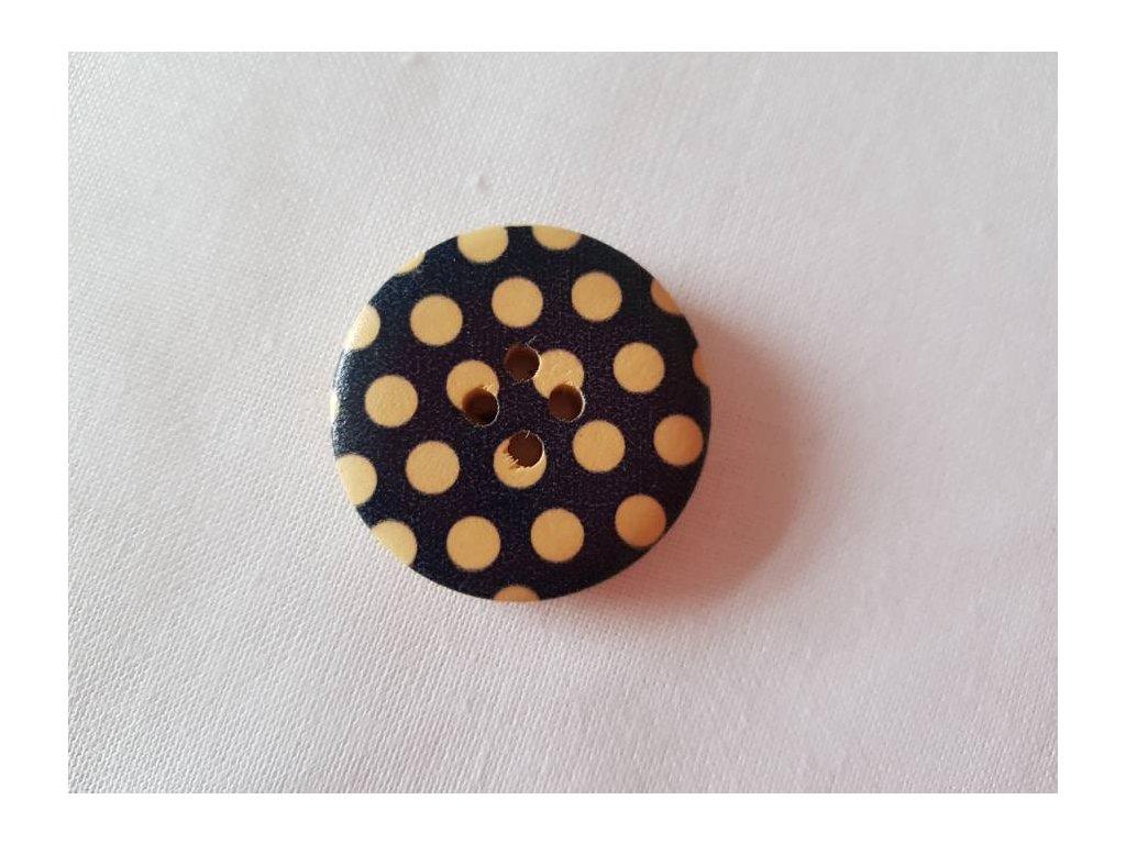 Dřevěný dekorační knoflík - tmavě modrý  s puntíky