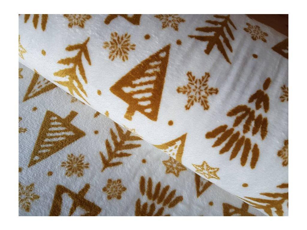 Microfleece - zlaté stromečky