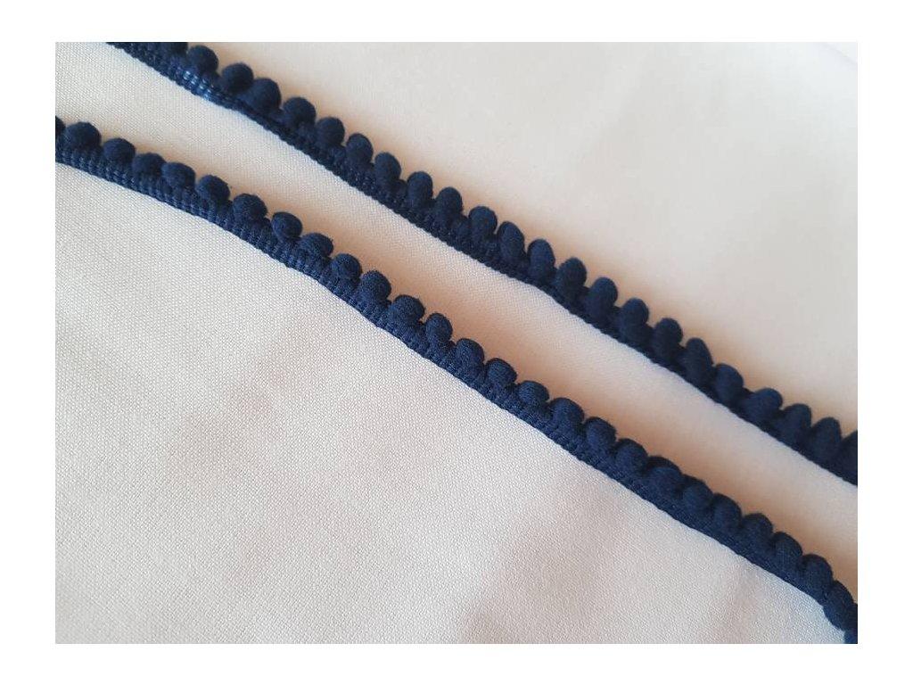 Prýmek s bambulkami -tmavě  modrý