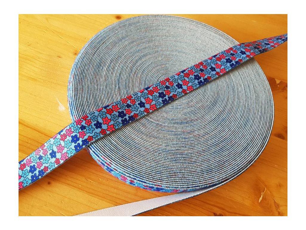 Guma plochá - barevné kytičky 2,5cm