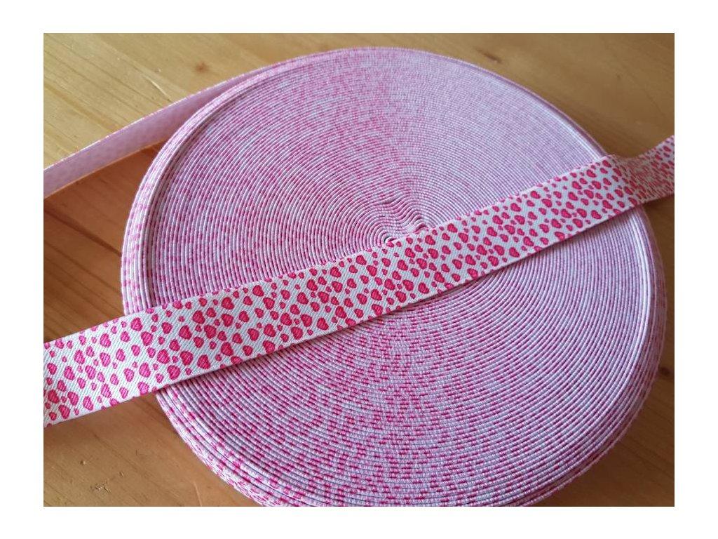 Guma plochá - ružová srdíčka 2,5cm