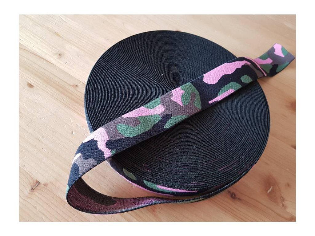 Guma plochá - maskáč růžová 4 cm