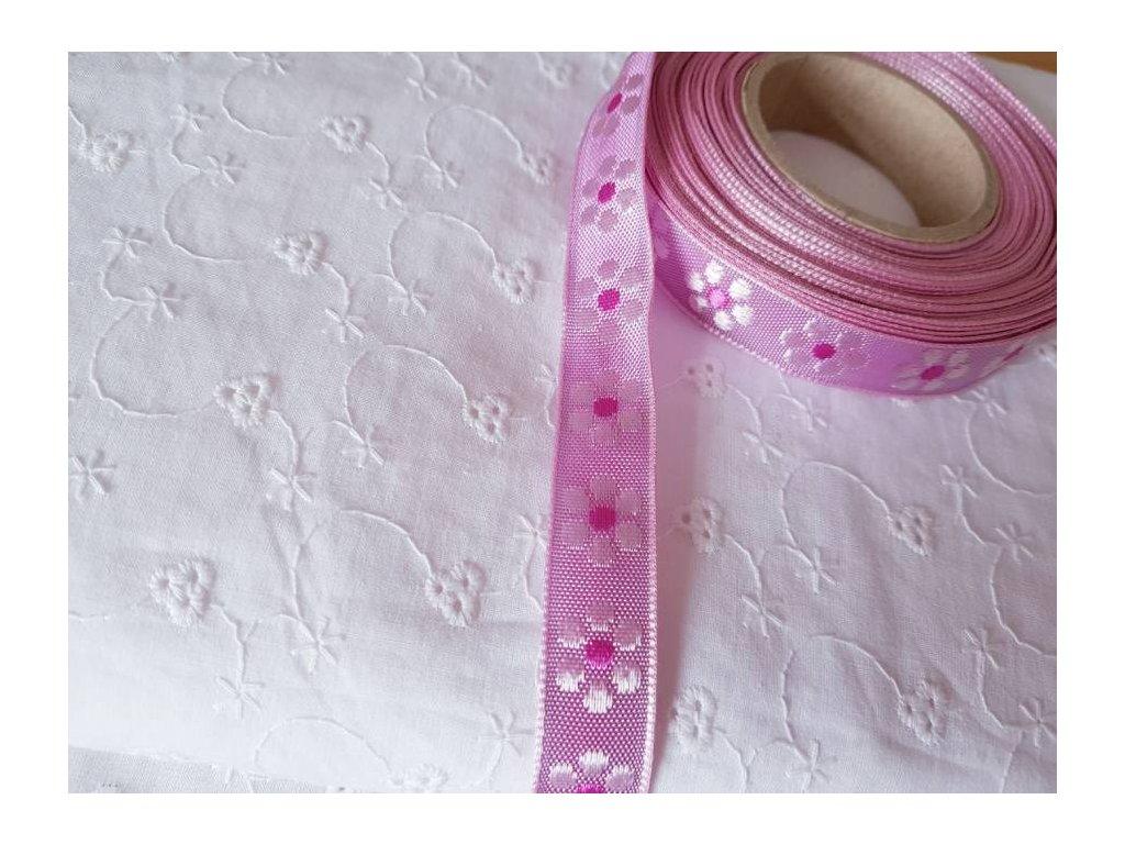 Stuha - Růžová kvítečka