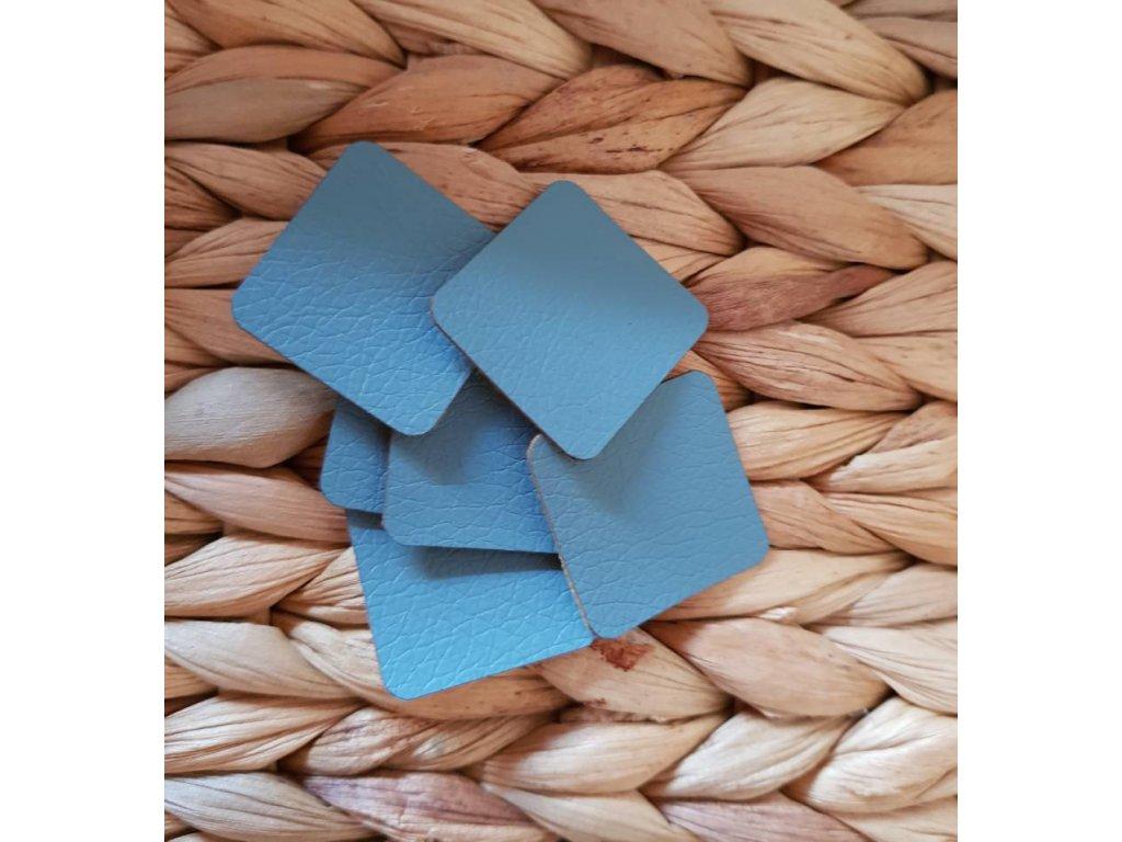 Koženkový štítek malý čtverec - modrá