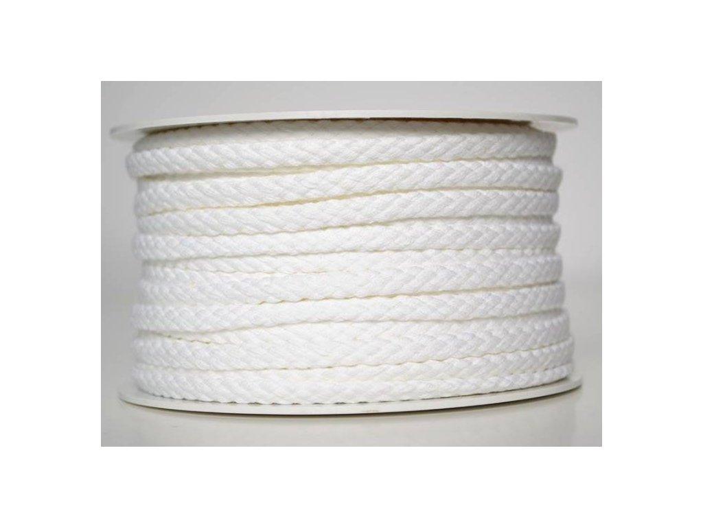Bavlněná šňůrka 5 mm -  bílá