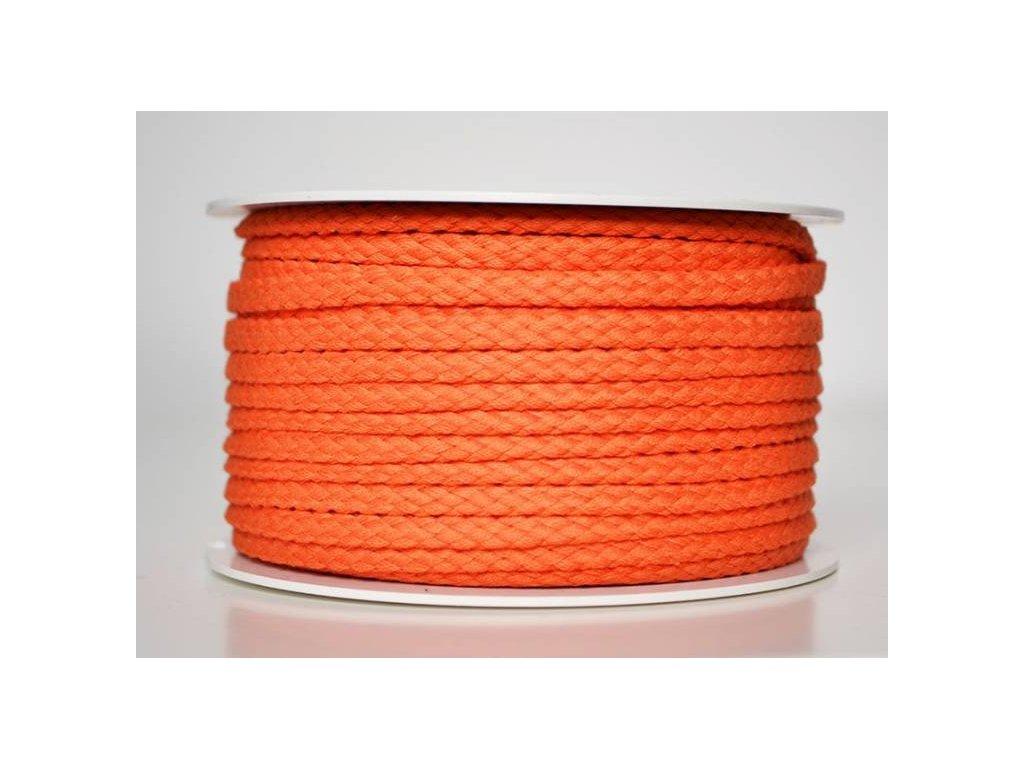Bavlněná šňůrka 5 mm - oranžová