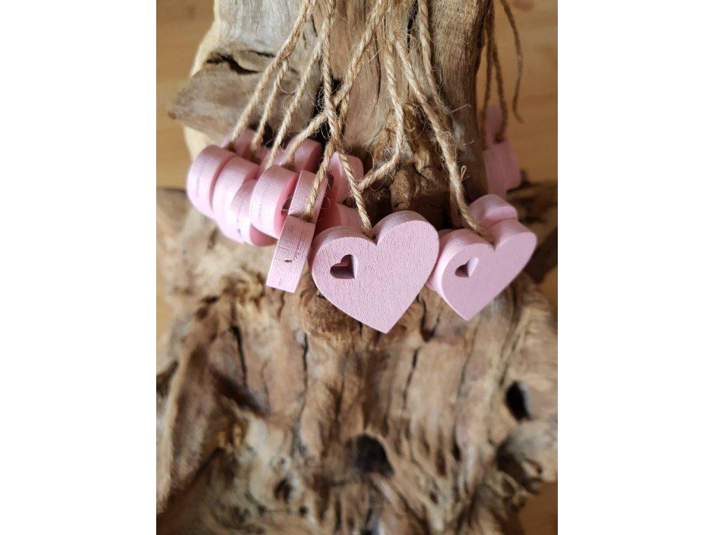 Dřevené srdce růžové