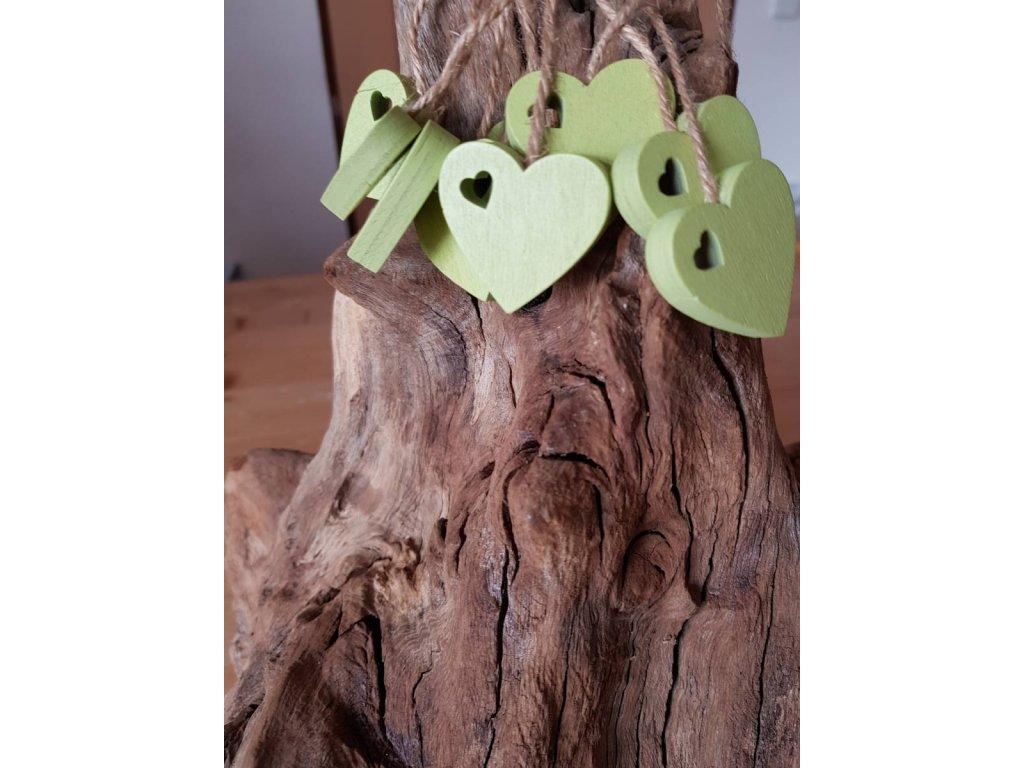 Dřevené srdce zelené