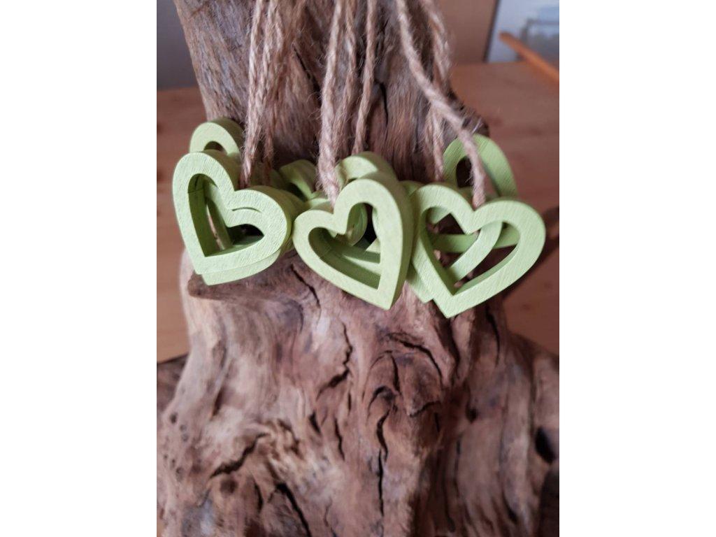 Dřevené srdce zelené II