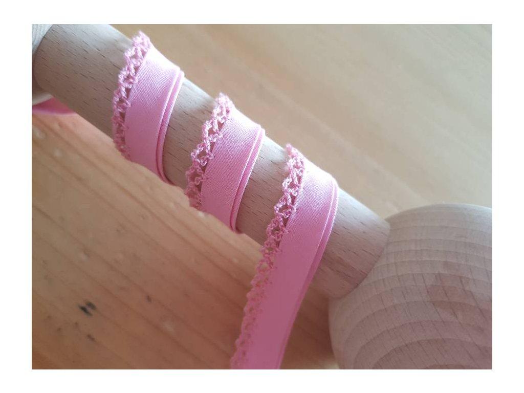 Šikmý lemovací proužek s krajkou - světle růžový