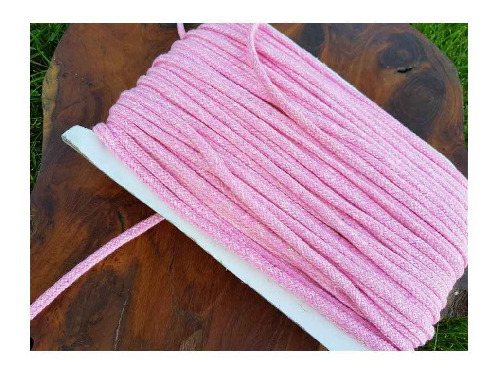 Bavlněná šnůra - 5mm melír růžová