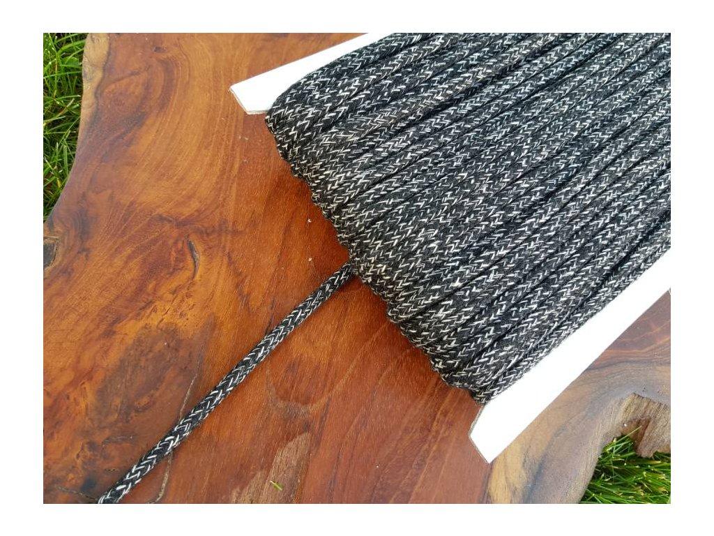 Bavlněná šnůra - 5mm melír černá