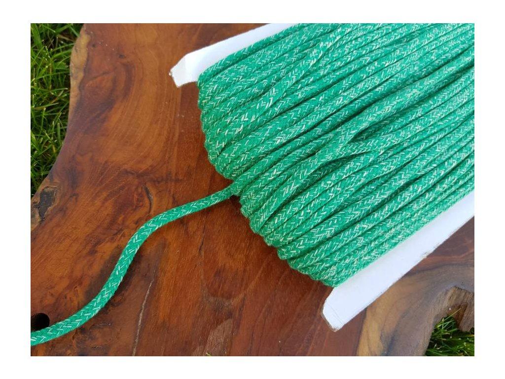 Bavlněná šnůra - 5mm melír zelená