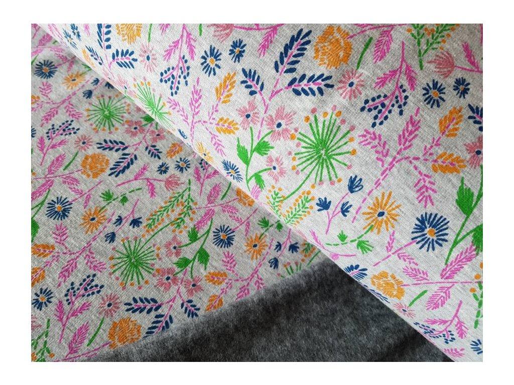 Warmkeeper - květy na šedém melíru