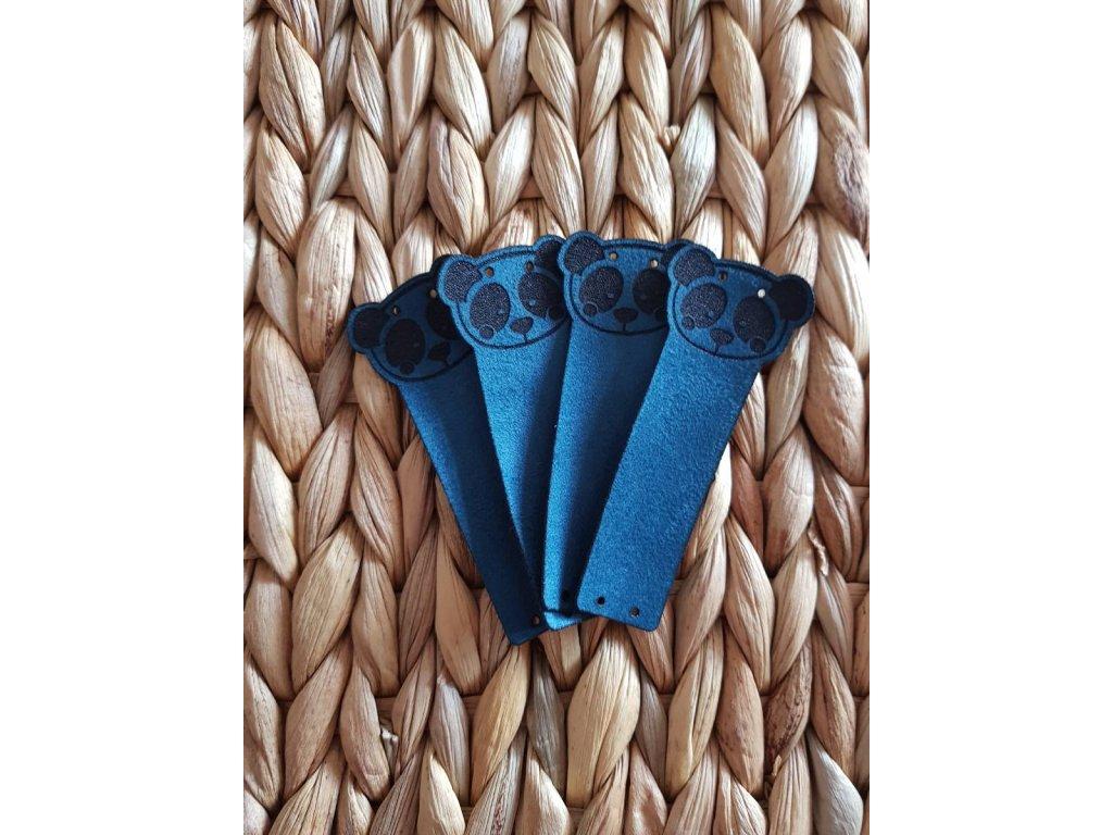 Koženkový štítek - panda modrá
