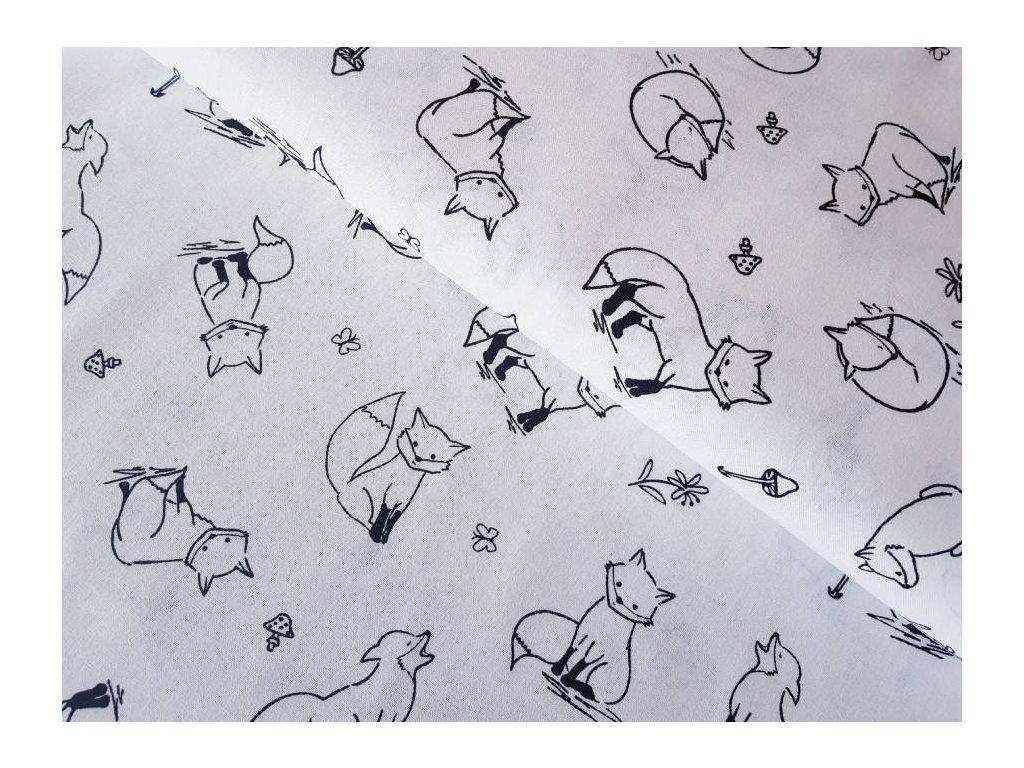 Černá - lišky na bílé