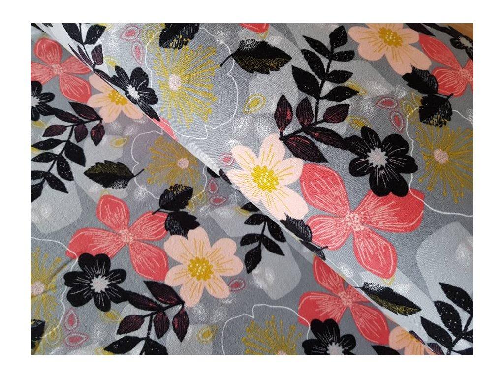 Počesaná el. teplákovina - květy