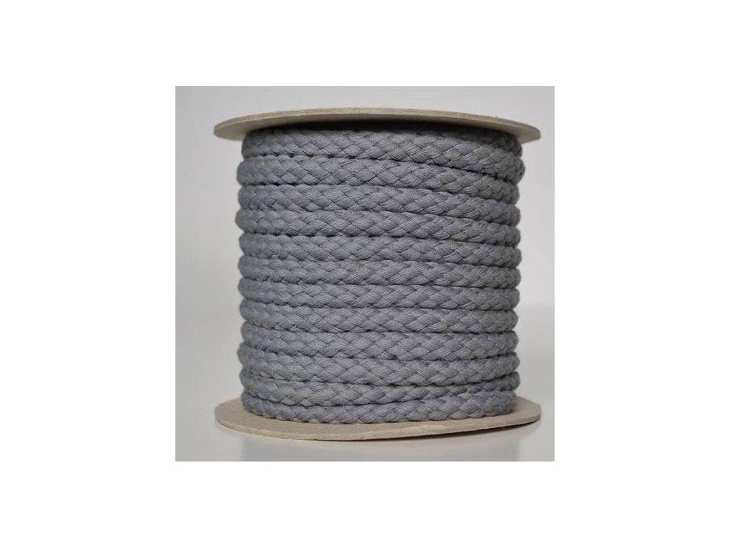 Bavlněná šňůrka 8,8mm - šedá