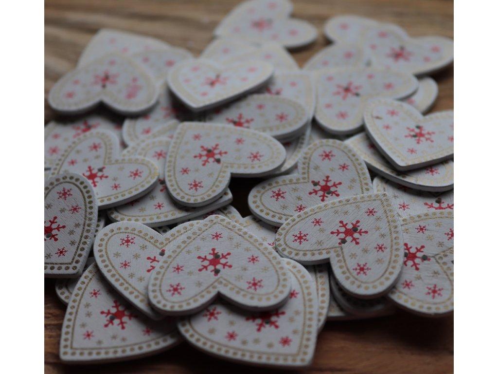 Dřevěný dekorační knoflík - zimní srdce