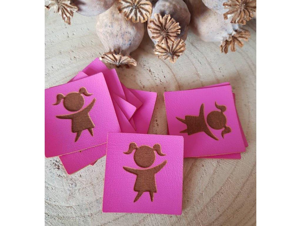 Koženkový štítek - holka růžová