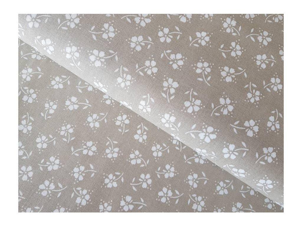 Béžové -  květy bílé