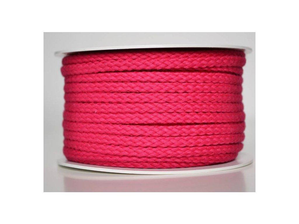 Bavlněná šňůrka 5 mm - růžová