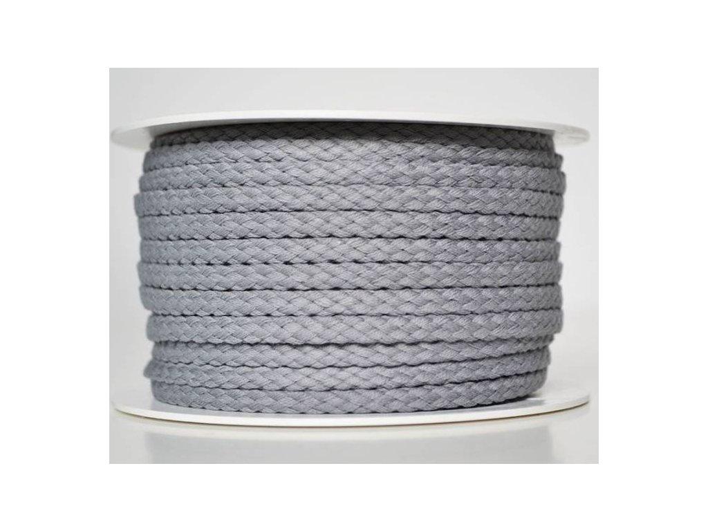 Bavlněná šňůrka 5 mm - šedá