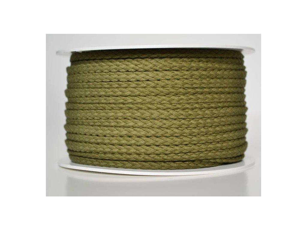 Bavlněná šňůrka 5 mm - khaki