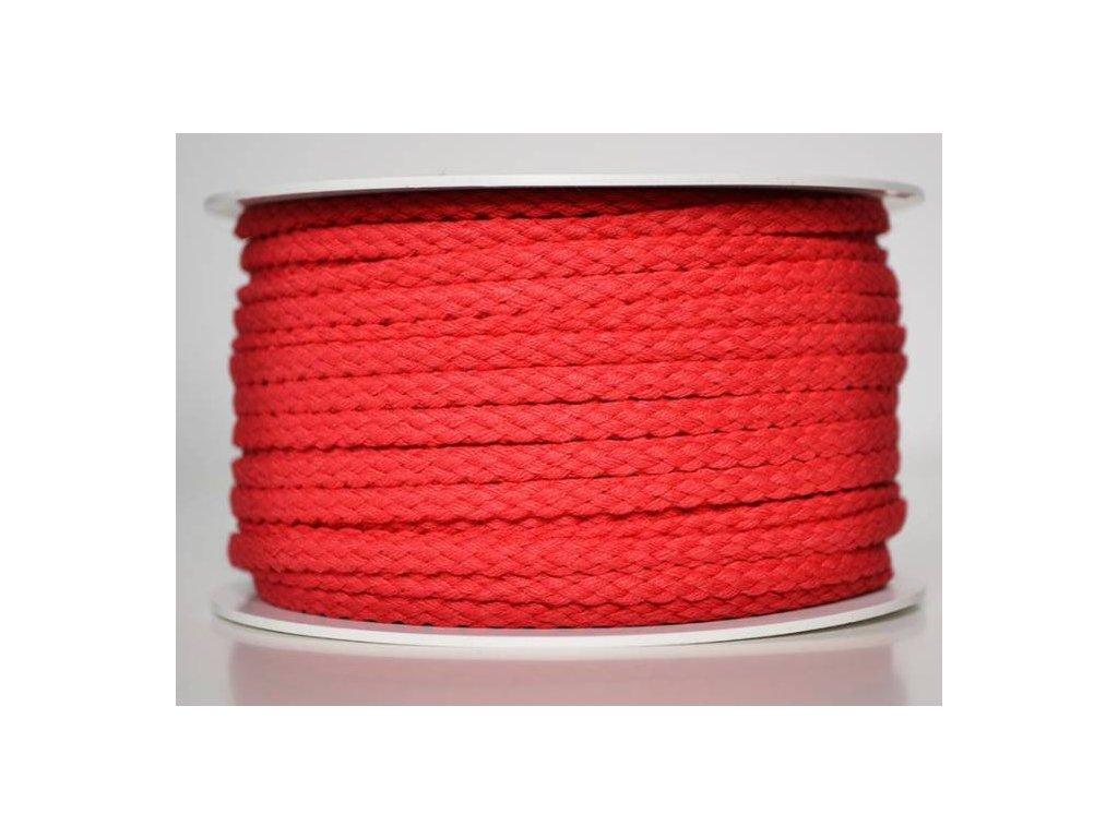 Bavlněná šňůrka 5 mm - červená