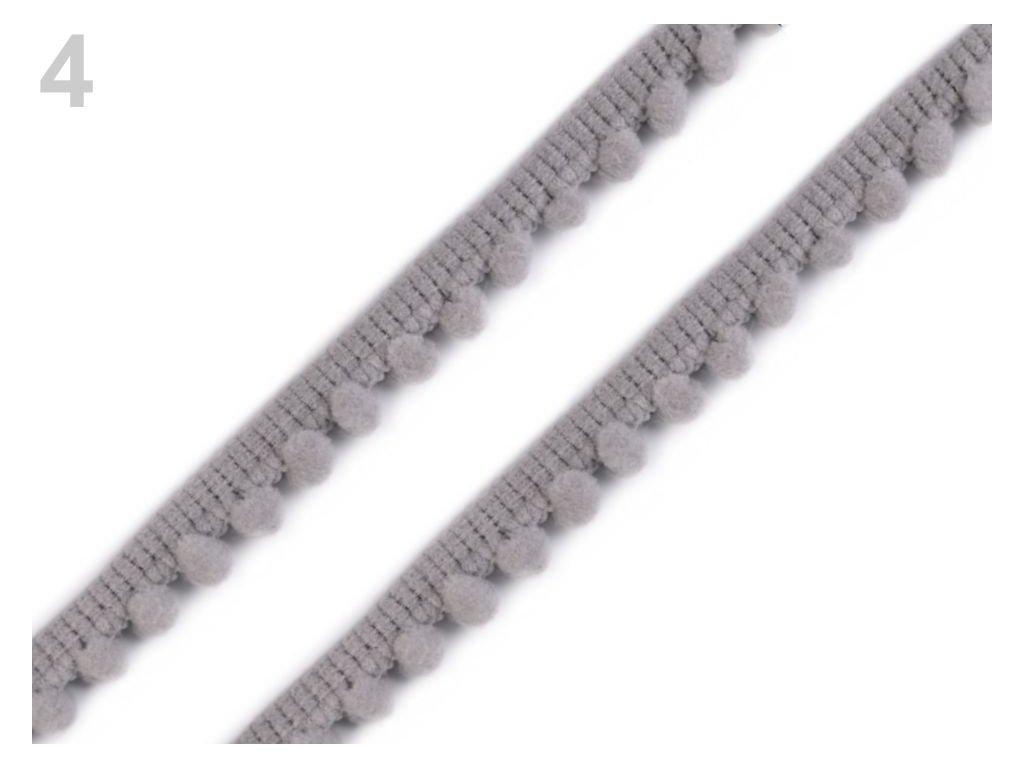 Prýmek s bambulkami - šedý