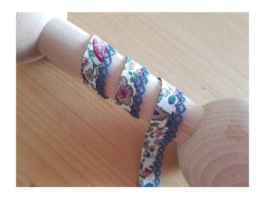Šikmý lemovací proužek s krajkou-barevné květinky