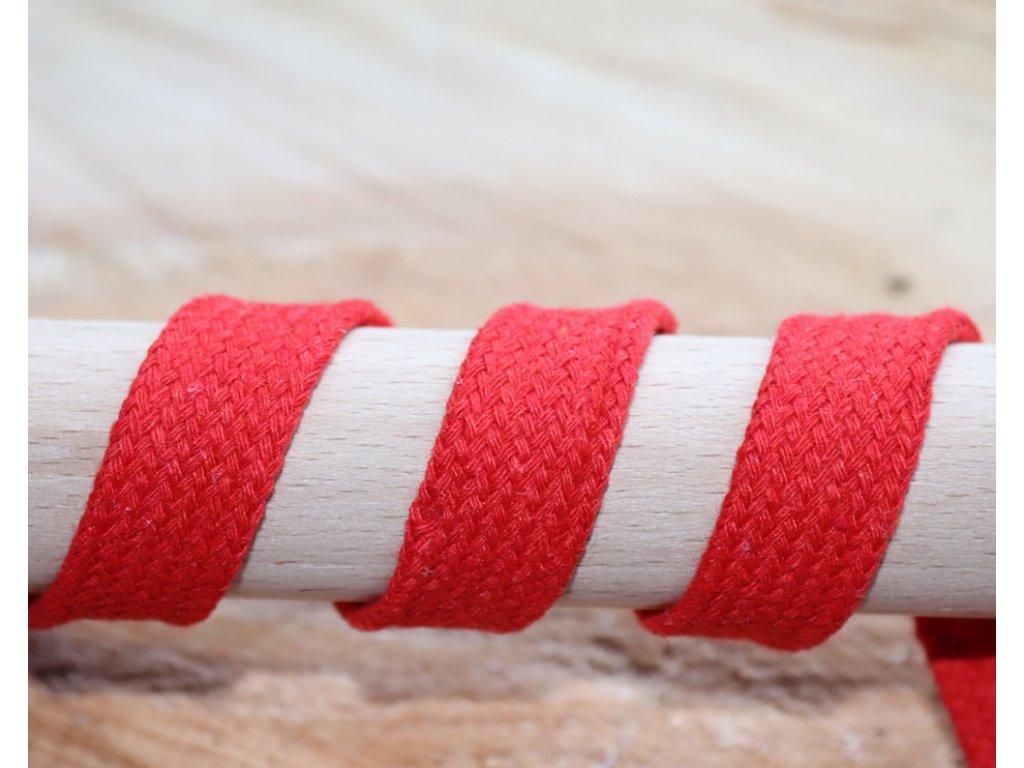 Plochá bavlněná šňůra 12mm -  červená