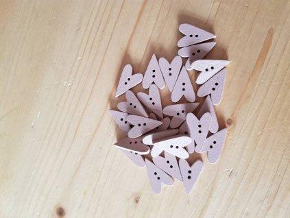 Dřevěný dekorační knoflík - pudrové srdíčko