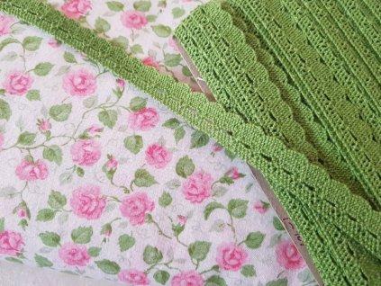 Krajka paličkovana jarní zelená