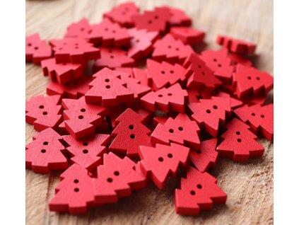 Dřevěný dekorační knoflík - červený stromeček